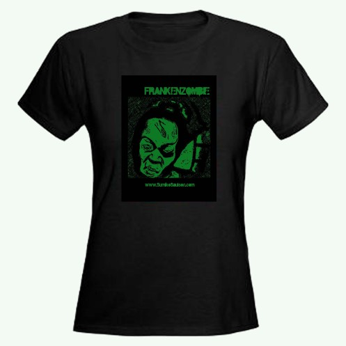 Frankenzombie Tee - Green Ink Interior