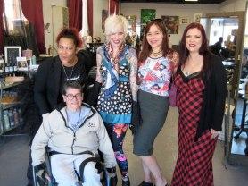 Sunday Streets Berkeley @ Blow Salon: Patty Overland (front) and Sumiko Saulson, Serena Toxicat, Rebecca Wilson and Rain Graves
