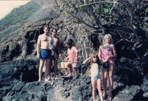 Robert Saulson (in blue shorts), his girlfriend Shari (front, blond) and niece Crystal Lewis (little girl in front) (1982)